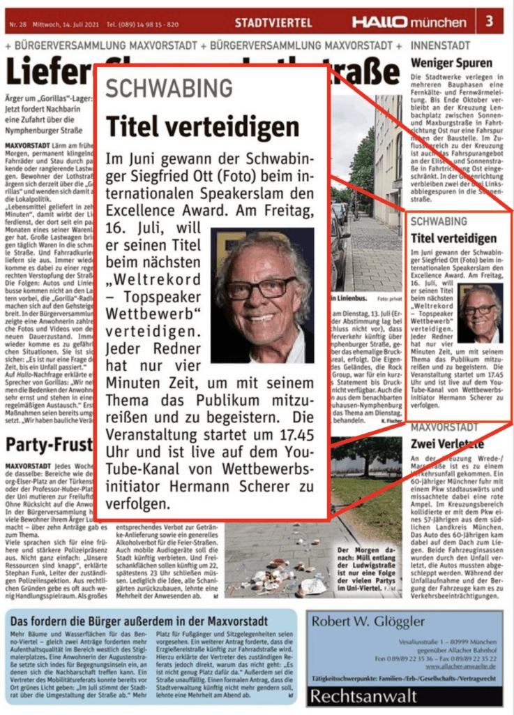 """""""Hallo München"""" vom 14.07.2021 über Siegfried Ott"""