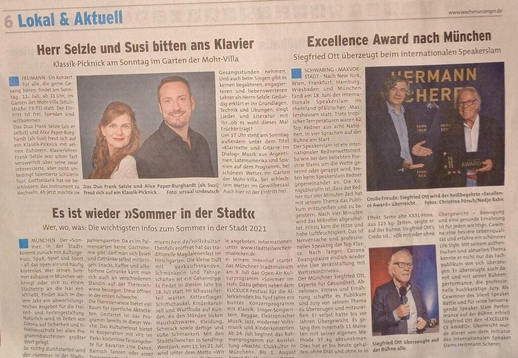 Excellence Award geht nach München - Münchener Wochenblatt vom 07.07.2021