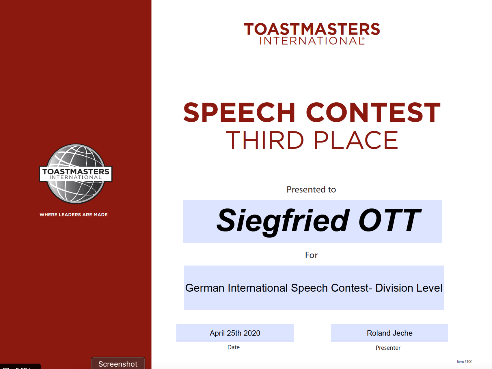 Toastmasters International Speech Contest